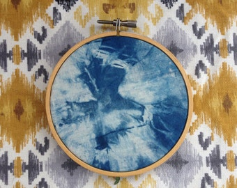 Natural indigo dyed shibori embroidery hoop