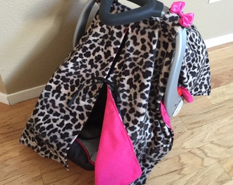 Cheetah and Hot Pink Car Seat Canopy, Car Seat Canopy, Animal Print, Car Seat Cover, Girl Canopy, Bow Canopy, Leopard Canopy