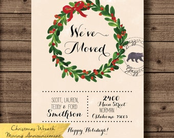 Christmas Wreath We've Moved Announcement