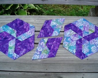 Hand Quilted Purple batik hexagon place mats and mug rug set