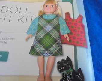 18 in Doll Outfit Kit Fabric Panel 2 Jumpers 1 Blouse Dog  Creative Cuts