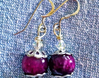 Cranberry agate earrings