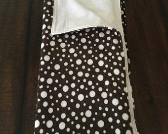 Chocolate brown and mini pink polka dots minky stroller blanket