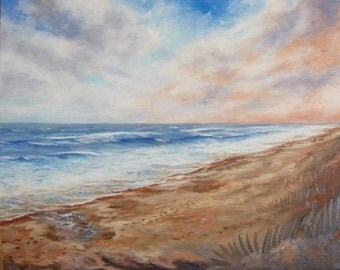 Impressionist seascape beach waves original oil painting