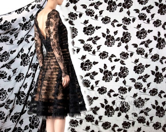 Black Peony Flocked Burnout & Glitter Tulle Fabric for DIY Whimsical Style Black Lace Gothic style Lolita Dress Dancing Dress. Ready to ship