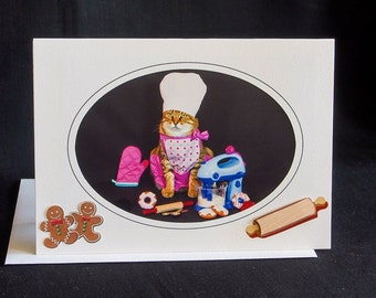 Cat in Chef Hat-Blank Photography Cat Greeting Card-Gift Card for Cat Lovers-Baker Cat Card-Cat Baking Cookies-Cat Art-Dress Up Cat-AE12