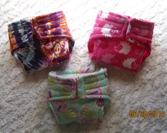 Bitty Baby Designer Diapers, Doll Diapers, cabbage patch diapers, diapers, 15 inch doll diapers, set of 3, ready to ship