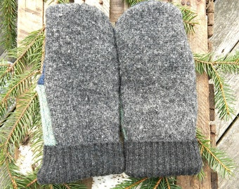 Gray And Green Sweater Mittens*Felted Wool Mittens*Fleece Lined Wool Mittens*Wool Mittens*Recycled Materials*Christmas Gift Ideas For Him