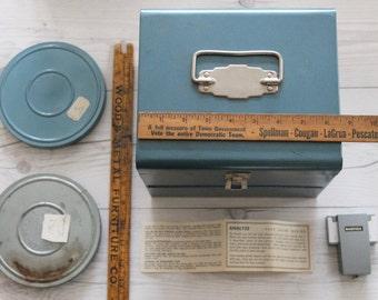 1950s 8mm Film Reel Blue Metal Case with 2 Film Reels and Cans, Vintage Blue Metal 8MM Film Reel Holder