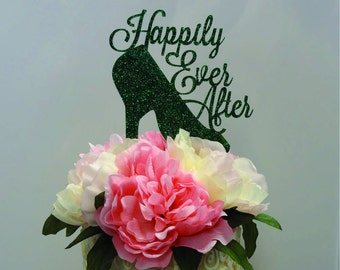 8 inch Glass Slipper Happily Ever After CAKE TOPPER - Wedding, Celebrate, Party, Cake Decoration