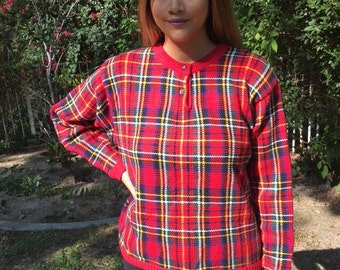 Red plaid sweater, medium