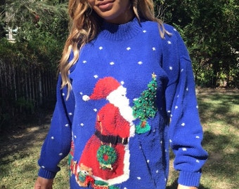 Ugly Christmas sweater, beaded sweater, knit sweater, blue, red, gold, green, large, Santa Clause
