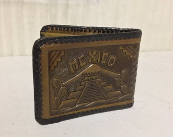 Tooled Leather Wallet ,Brown,Mayan calendar