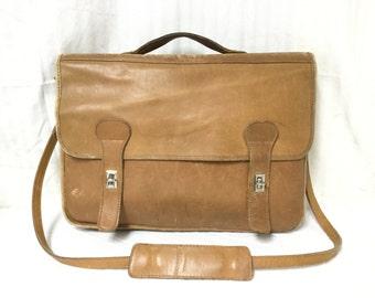 Leather Briefcase, Tan leather,Camel color,Shoulder Bag,briefcase,bag