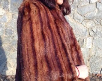 Mink Cape,red,mink fur,stole,fur Coat, Sharon Pa. Small,Medium