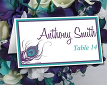 Peacock Wedding Place Card Template | Peacock Feather Wedding Tent Escort Card Turquoise Teal Purple Wedding Table Card Place Setting