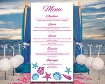 "Beach Wedding Menu Card Template - Seashell Entree Card Printable - Wedding Reception Menu ""Seashells"" Fuchsia Blue - Wedding Menu Printable"