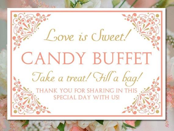 Candy Buffet Wedding Template Wedding Candy Bar Sign Small