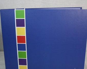 12x12 Blue with Primary Color Stripe Down Left Scrapbook