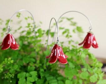 Bellflower, flower plugs of ceramic, dark red