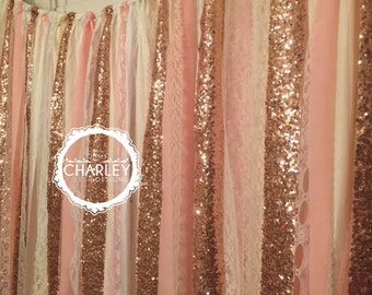 Rose Gold Sequin Garland Fabric Backdrop with Lace - Wedding, Photo Prop, Curtain, Baby Shower, Crib Garland