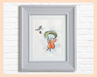 "Nursery art illustration. Flying Squirrel, parachuting on a leaf  8""X10"" mounted print"