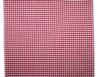 SUMMER SALE Handmade red gingham cotton pocket handkerchief hankie hanky