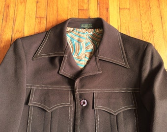 Vintage 70s Brown Two Piece Leisure Suit 40, 34x29