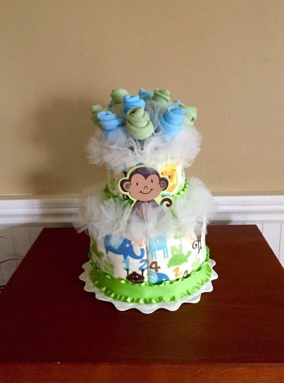 2 Tier Baby Sock Bouquet Burp Cloth Cake ABC 123 Animals