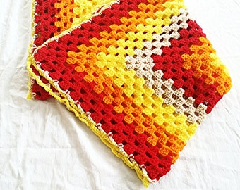 READY TO SHIP!!!!!!!! Crochet yellow brown and red granny square blanket, crochet baby blanket, crochet blanket.