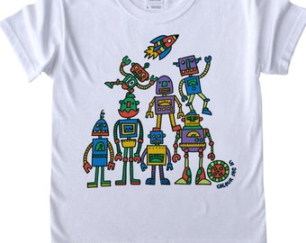 Childrens T shirt to Colour in Robots T Rex Diggers Doodle Colouring In Tee Shirt Boys Designs Boys T shirts Childrens' Fun Activities