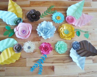 Set of 12 Small Paper Flowers with leaves - Multicolour   Paper Flowers   Paper Flower Backdrop   Paper Flower Wall   Paper Flower Art