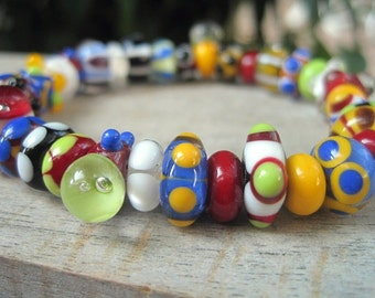 Bracelet Lampwork Glass Colorful Primary Colors Stretch Bracelet