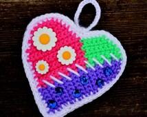 Crochet Pattern - How to Crochet a Heart pattern, Amigurumi Heart, Crochet Heart Keychain, Crochet Heart Bag Pendant, Crochet Valentines day