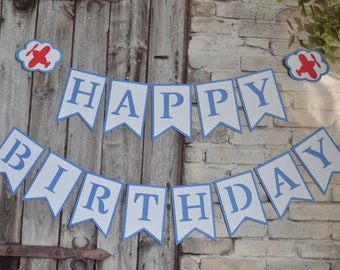 Airplane Birthday Banner, Plane Birthday Banner, First Birthday Banner, Blue and Red Banner, Birthday Party Decorations