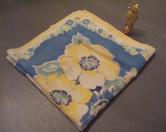 Vintage Blue w/ Yellow Flowers Hanky - Bold, Bright & Beautiful - Excellent Vintage Condition!!