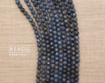 """Natural Dumortierite Faceted Round Beads, Blue Denim Stone Bead,15.5"""" FULL Strand- 6mm/10mm/12mm (GB173)"""