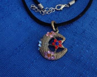 Moon and Star Necklace,Black Velvet Necklace,Embelished Moon Pendant