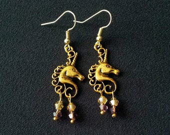 Golden Unicorn Dangle Earrings
