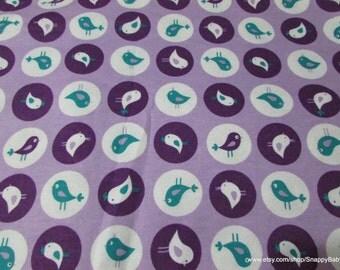 Flannel Fabric - Cutie Birds Purple  - 1 yard - 100% Cotton Flannel