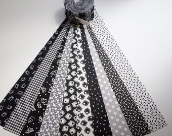 """FREE domestic shipping - Classic Black and White Jelly Roll Cotton Fabric 40 pieces of 2-1/2"""" Strips - Non Floral Patterns"""