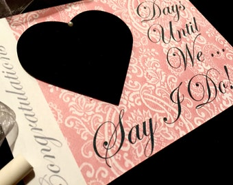 "Engagement Present Ideas,Fiancé gift, ""Days Until..We Say I Do!"" (Burnt Red Lace Design) Countdown to wedding sign! Gift For Couple"
