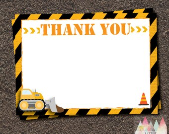Construction THANK YOU card. Instant Download Thank You. 5x7 Thank you.