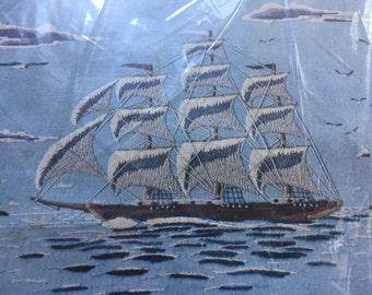 Paragon Needle Craft KIT Crewel Stitch Clipper Ships Tall Sailboats 1970s