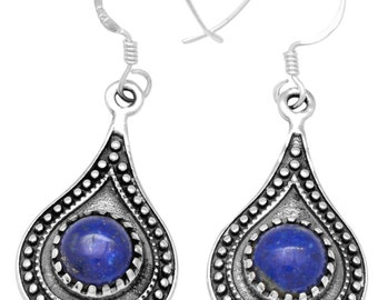 Lapis Gemstone Earrings Solid 925 Sterling Silver Jewelry IE21279