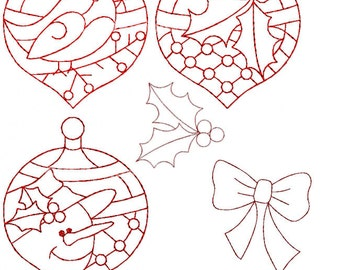 Christmas Ornaments Redwork Machine Embroidery Designs