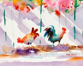 Chicken Art, Rooster Art, Key West Florida, Tropical Art, Watercolor Print, Colorful Painting Ellen Negley, 11 x 14, 16 x 20 or 20 x 24