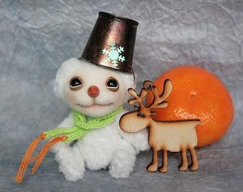 Snowman Ricardo Artist teddy OOAK