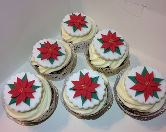 Poinsettia flower cupcake toppers