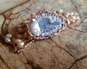 Blue Agate Geode and Freshwater Pearl Rose Gold Plated Necklace